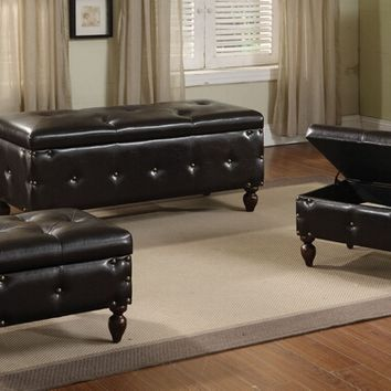 A.M.B. Furniture & Design :: Bedroom furniture :: Bedroom Benches :: 3 pc set Ibrahim brown leather like vinyl upholstered tufted top storage bedroom bench and 2 smaller storage ottomans