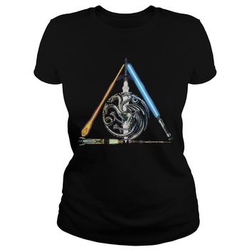 All sword star war and mother of dragon Game of Thrones shirt Ladies Tee