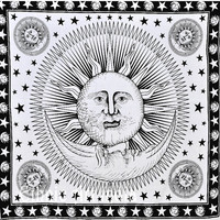 White & Black Good Morning Sun BedSheet Sun And Moon Tapestry Indian Cotton Tapestry Wall Hanging,Hippie Tapestries Beach Blanket Wall Decor