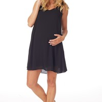 Basic Black Chiffon Maternity Dress
