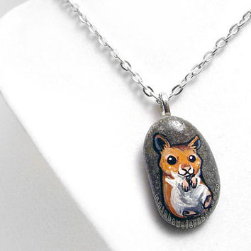 Cute Hamster Necklace, Pet Loss Pendant, Hand Painted Jewelry, Beach Stone, Pet Memorial, Syrian Hamster Painting