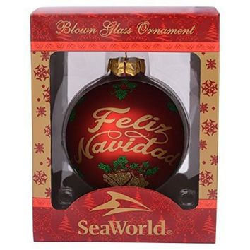 SeaWorld Feliz Navidad Glass Ball Christmas Ornament New with Box