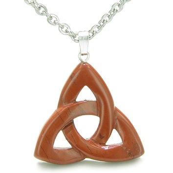Celtic Triquetra Knot Magic Amulet Red Jasper Believe Powers Pendant 22 Inch Necklace