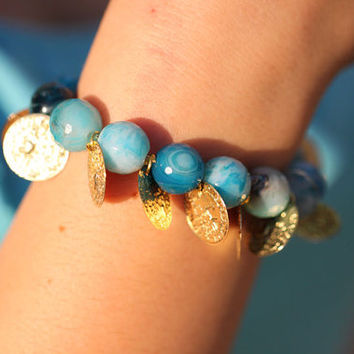 Agate Gemstone Stretchy Ocean Blue Faceted Bracelet with Coins.