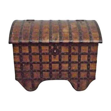 Pre-owned Antique 19th Century Iron and Wood Storage Trunk