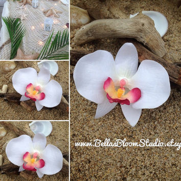 Orchid  Hair Clip-Weddings, Tropical Hair Clip, Bridal Hair Clip, ORCHID HAIR FLOWER , Beach Destination Weddings,Tropical Flowers,etsy