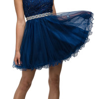 Navy Blue Illusion Bead Appliqued Tulle Cap Sleeves Homecoming Dress
