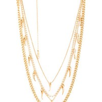 Ettika Horn Layer Necklace in Metallic Gold