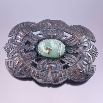 Victorian Sash Pin Art Glass Stone Mottled Green Turquoise Glass Etruscan Style C Clasp Closure Antique Jewelry