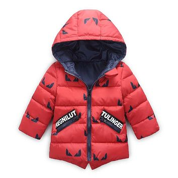 Baby Boys Jacket Winter Jacket For Boys Cartoon Hooded Cotton Feather Coat Kids Warm Outerwear Children Clothes