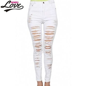 Dearlove 2017 Denim Destroyed High waist Skinny Jeans pantalon taille haute femme LC78646 White Black Ripped Jeans For Women
