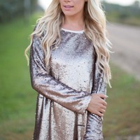 Let's Celebrate Sequin Dress in Bronze