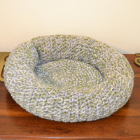 Crochet Pet Bed for Cat or Small Dog Neutral Gray White Green