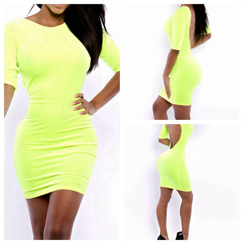 Green Long Sleeve Backless Bodycon Mini Dress