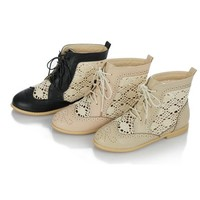 OASAP - Color Block Cutouts Lace up Boots - Street Fashion Store