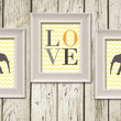 Gray Elephant Love Yellow Chevron Set of 3 Print Kids Room Decor Printable Instant Download Poster Home Decor Wall Art N13034Y