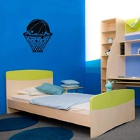Wall Vinyl Decal Sticker Art Design Room Nice Picture Decor Hall Wall Basketball Ball Basket with Stars Sport Game Chu594