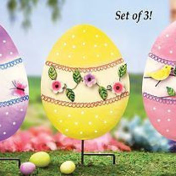 Garden Yard Colorful Easter Egg Stakes 3 Pc Set