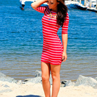 SHOWSTOPPER STRIPES DRESS IN RED