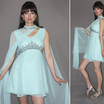 Vintage 60s MINI DRESS / Mod Robins Egg Blue Chiffon Cocktail Dress / Matching Draping Choker / Silver Beads + Sequins / Mad Men / Small