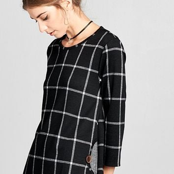 Moon Pocket Grid Shift Dress