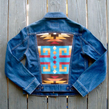 Vintage Levi Denim Jacket w/ Colorful Tribal Jacquard Pendleton Wool Back.