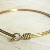 Raw Brass Adjustable Bangle Bracelet, Expandable Bracelet, Charm Bracelet 67mm- 1 pc.