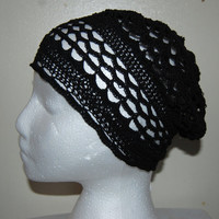 Black Crochet Filet Beanie with or without Glitter Flower...you choose