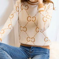 GUCCI Winter Fashionable Women Leisure GG Letter Long Sleeve Round Collar Knit Sweater Top Sweatshirt Beige