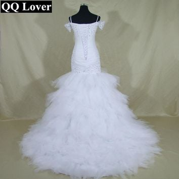 QQ Lover Luxury Tiered Tulle Sweetheart Mermaid Lace Wedding Dresses Vestidos De Novia Open Back See Through Illusion