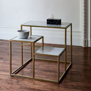 Marble Geo Stepped Side Table