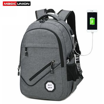 MAGIC UNION 2017 Men Oxford Fabric Backpack College Student Backpacks Usb Charging Bag Waterproof Laptop Backpack