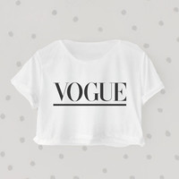 VOGUE printed Midriff Cropped Blouse. Street-Style Fashion - teenage - crop - Teen Girl - Casual wear