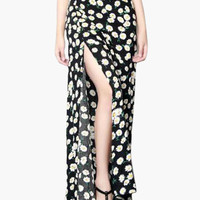 Floral Print High Side Slit Maxi Skirt