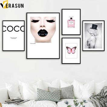 VERASUN Perfume Modern Girl Wall Art Canvas Painting Pop Art Poster Nordic Decor Wall Pictures For Living Room Decoration
