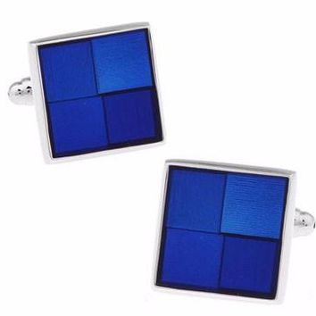 Shirt Cuff Links - Blue with Copper Material - Enamel Square Check Design