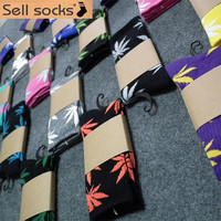 1 pair Men sock Maple leaf Socks long fashion Cannabis Marijuana Weed Socks Long Skateboard hiphop socks Meia women unisex
