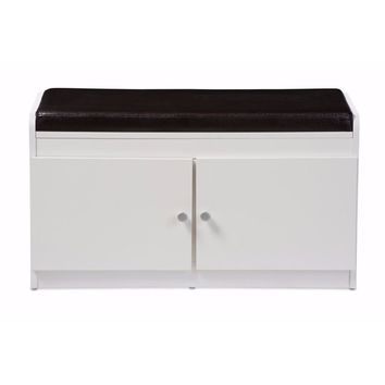 Margaret Modern and White Wood 2-Door Shoe Cabinet with Faux Leather Seating Bench By Baxton Studio