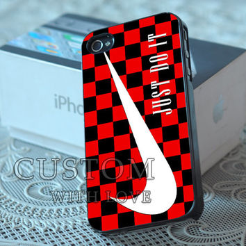 Nike Just Do It Checkerboard Red - Rubber or Plastic Print Custom - iPhone 4/4s, 5 - Samsung S3 i9300, S4 i9500 - iPod 4, 5