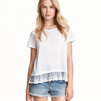 H&M Top with Lace Trim $14.99