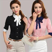 Casual Korean Slim Short-sleeve Work Wear Office Blouse = 1876531460