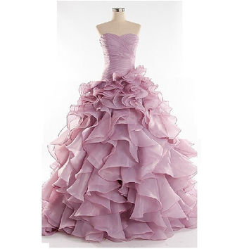 New Arrival Puffy Ruffles Sweetheart Mermaid Prom Dress Girls Years Dresses Sexy Light Purple Organza Formal Gowns Long Dresses