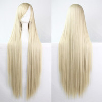 100 cm Harajuku Cosplay Wigs Anime Long Straight Heat Resistant Synthetic Hair Wig