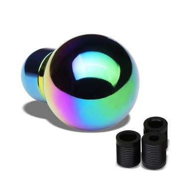 Neo Chrome Clear Shift Pattern Round Racing Shifter Knob+M8/M10/M12 Thread Base