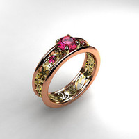 Pink sapphire ring, Rose gold, filigree,  yellow gold, engagement, lace, Pink engagement, sapphire, wedding ring, two tone, anniversary