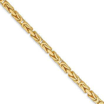 2.5mm, 14k Yellow Gold, Solid Byzantine Chain Necklace