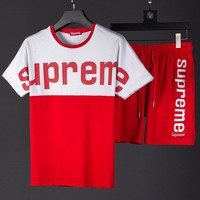 Boys & Men Supreme Fashion Casual Shirt Top Tee Shorts Two Piece Set