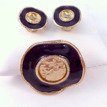 Holy Land Brooch and Earrings Gold Angels Cherubs Franciscan Monastery