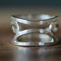 Polynesian Tribal Jewelry, Hammered Sterling Silver Ring , Silver Tattoo Jewelry