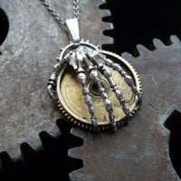 Skeleton Hand Pendant Hand of Destiny Robotic by amechanicalmind